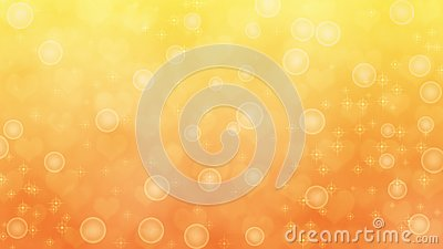 Abstract Blurred Hearts, Sparkles and Bubbles in Yellow and Orange Background