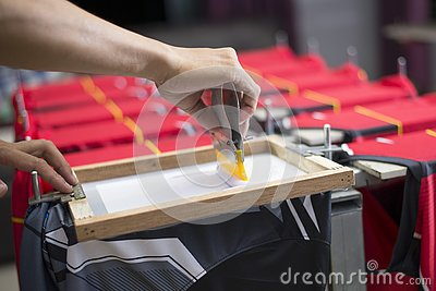 Handmade screen printing t-shirt, Workers are working
