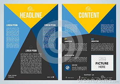 Vector flyer, corporate business, annual report, brochure design and cover presentation with blue and yellow triangle