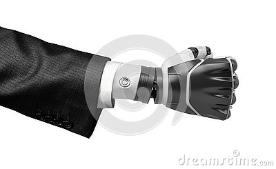 3d close-up rendering of black and white robot`s clenched fist, wearing suit isolated on white background.