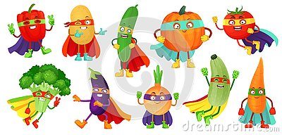 Superhero vegetables. Super cucumber, hero mask on pumpkin and vegetable food with superheroes cloak cartoon vector