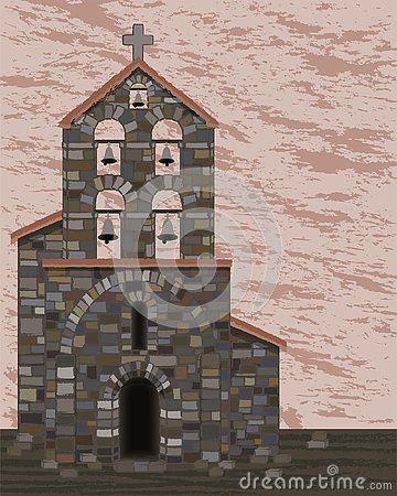 Ancient stone church with bells and arched entrance in visigoth styles, vector
