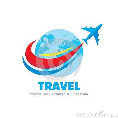 Travel - concept business logo template vector illustration. Airplane with abstract globe earth. Graphic design element.