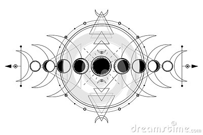 Mystical drawing: phases of the moon, energy circles. Sacred geometry.