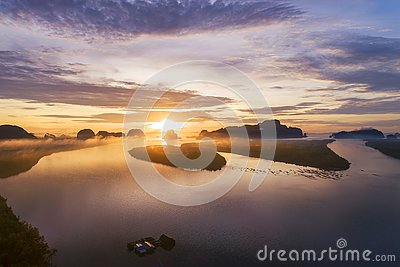 Landscape nature view, Beautiful light sunrise over mountains in thailand Aerial view Drone shot