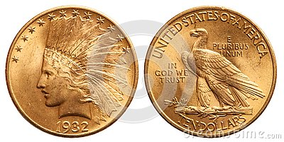 United states gold coin 10 dollar indian head vintage 1932