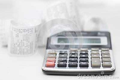 Calculator with many receipts for calculating family budgets