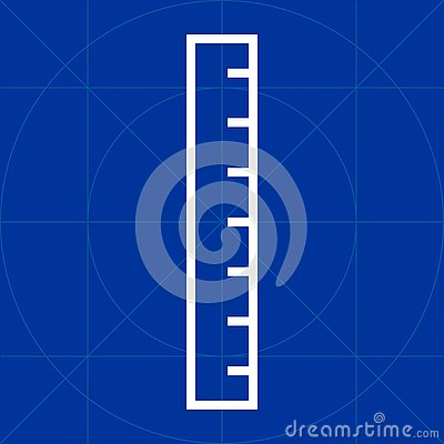 Simple meter stick ruler outline line icon