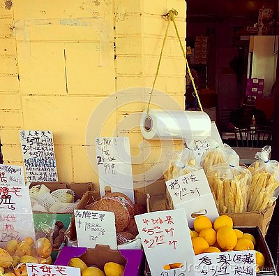 stock image of detail of a vegetable stall in oakland, california, chinatown