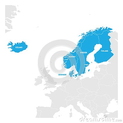 North Europe Region. Map of countries of Scandinavia. Vector illustration