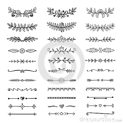 Doodle dividers. Hand drawn line borders and laurels, ornamental decorative frame, nature floral arrow sketch. Vector