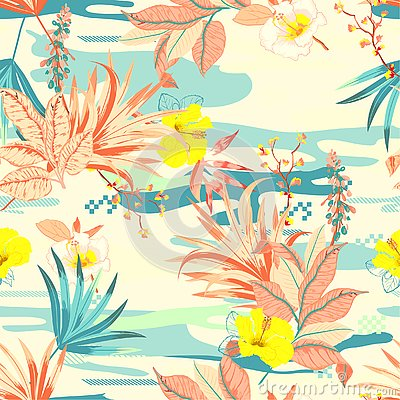 Retro colorful Tropical flowers anfd exotic plants on the camouflage background. Vector seamless pattern illustration