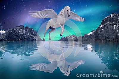 Pegasus winged legendary white horse flying with spread wings dreamy landscape