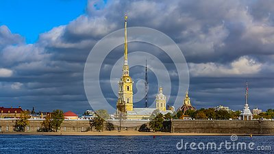 Panorama of the Peter and Paul Fortress in Saint Petersburg with the Neva river