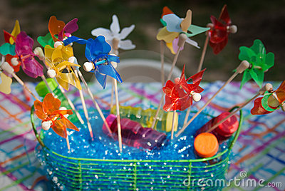 Colorful Pinwheels in a Basket
