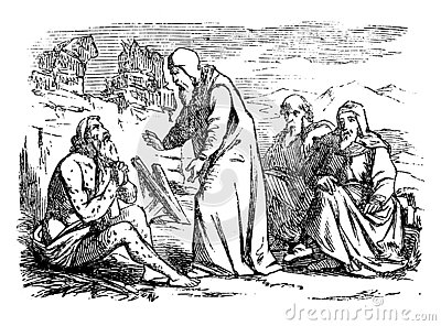 Vintage Drawing of Biblical Story of Job. Old Sick Man is Talking With Three Friends
