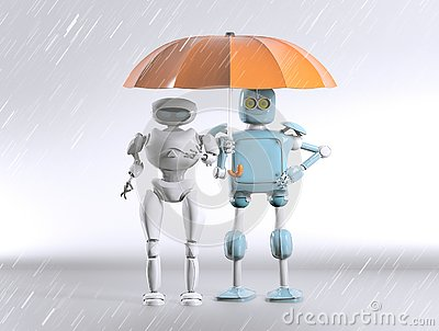 Two with umbrella, 3d render