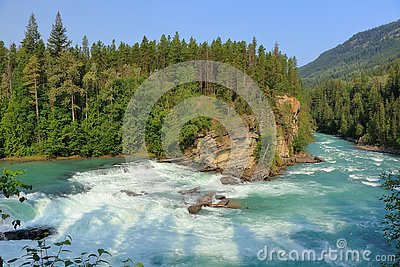 Fraser River rushing over Rearguard Falls in the Canadian Rocky Mountains, Mount Robson Provincial Park, British Columbia, Canada