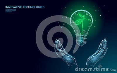 Hand holding light Bulb lamp saving energy ecology concept. Polygonal blue sprout small plant seedling inside