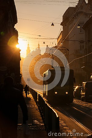Sunset in Lviv. Doroshenko Street. Historical city center