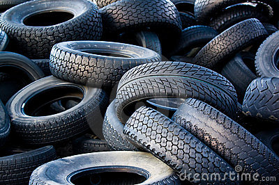 Worn out used tires