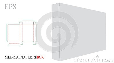 Medical Tablets Box Template with die cut lines. Vector with die cut / laser cut lines. White, clear, blank, isolated Pills Box