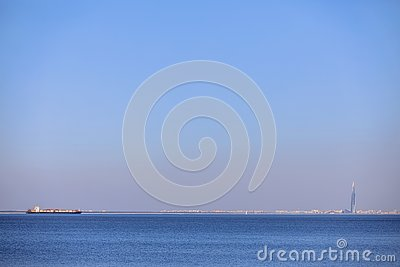 stock image of tanker sailing along the gulf of finland towards the lahta center