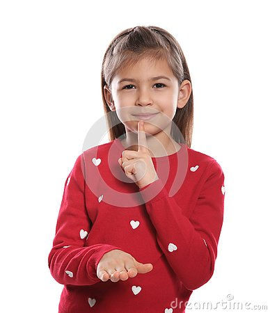 Little girl showing HUSH gesture in sign language on white