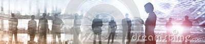 stock image of business website banner header. industry background mixed media. people silhouettes. abstract concept.