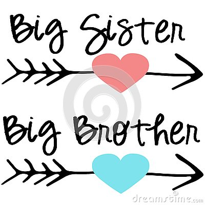 Big sister big brother cutting files EPS DXF SVG arrows heart