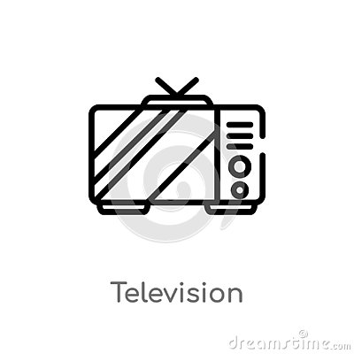 stock image of outline television vector icon. isolated black simple line element illustration from electronic devices concept. editable vector