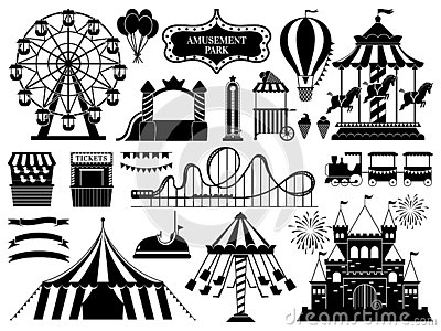 Amusement park silhouette. Carnival parks carousel attraction, fun rollercoaster and ferris wheel attractions vector