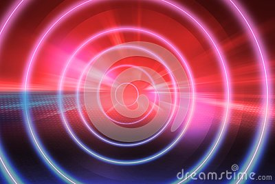 Virtual neon tunnel theme abstract technology background concept series