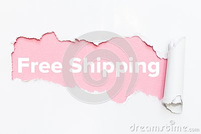 Pink hole in white paper. Free shipping