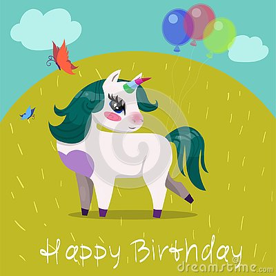 stock image of birthday card with unicorn with balls on the glade vector image