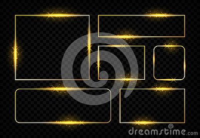 Shiny golden frames. Square magic border with glowing golden lines and flares, vector birthday party and wedding