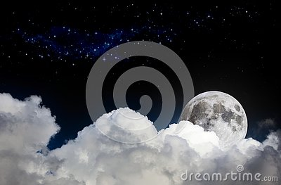 Night sky scene mock-up with white clouds, full moon and distant stars