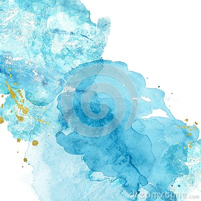 Watercolor abstract background with blue and turquoise  splashes of paint on white.  Hand painted texture. Imitation of sea