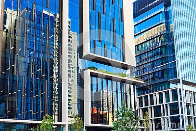 Reflections in Modern Glass Facade Office Buildings