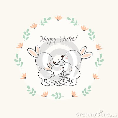 Happy Easter greeting card with little Bunny.