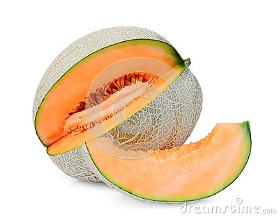 Whole and slice of japanese melons, orange melon or cantaloupe melon with slice isolated on white