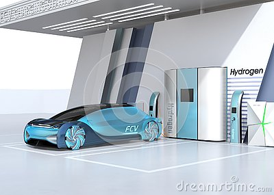 Fuel Cell powered autonomous car filling gas in Fuel Cell Hydrogen Station