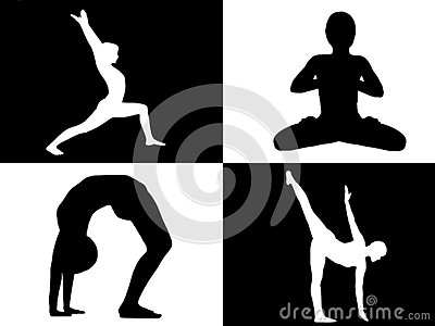 stock image of yoga collage , young fit girl practicing yoga in four black and white squares