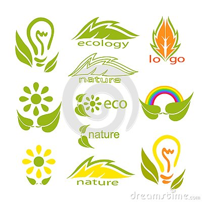 Ecological logo or icon set with green leaves, light bulb, rainbow, flowers and stylized leaves.