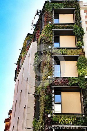 Modern facade with vertical garden in Madrid