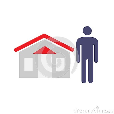 Man and House Icon. House Seller, buyer, vendor, asistant, and owner concept symbols. Vector illustration.