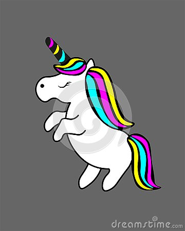 stock image of web. cute white unicorn with rainbow hair vector illustration for children design. sweet fantasy character for t-shirts and cards