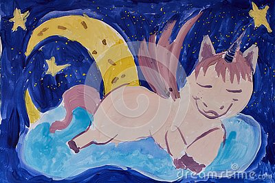stock image of hand made illustration of a sleeping unicorn on a cloud