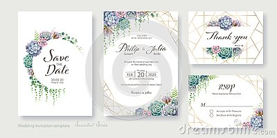 Greenery, succulent and branches Wedding Invitation card, save the date, thank you, rsvp template design. Vector