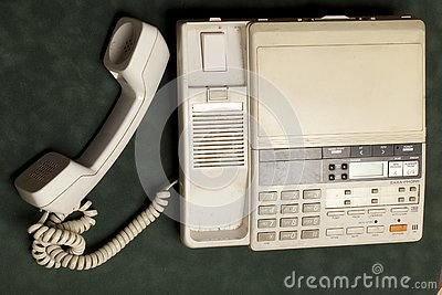 Vintage phone with handset and answering machine